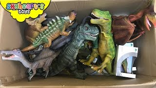 Download 100 DINOSAUR TOYS IN A BOX! Skyheart opens jurassic world dinosaurs for kids trex figures Video