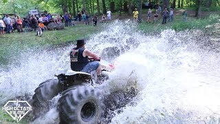 Download MONSTER LAWN MOWER ″ MOW MONEY ″ FLOATS ON THE POND AT PERKINS MUD BOG Video