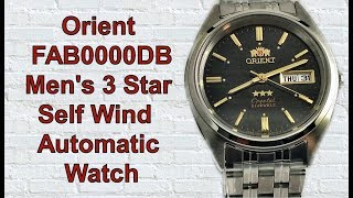 Download Orient FAB0000DB Men's 3 Star Stainless Steel Black Dial Self Wind Automatic Watch Video