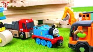 Download Wooden trains like brio for kids with Thomas the train, trucks, car wash, construction vehicles Video