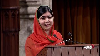 Download Activist Malala Yousafzai delivers impassioned speech to Canadian Parliament Video