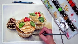 Download Christmas Cupcakes Watercolor Painting Tutorial REAL TIME Video