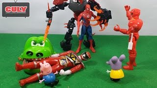 Download Siêu nhân gao cá sấu cắn tay giải cứu người nhện bị thôi miên đồ chơi trẻ em toy gor kids childrens Video