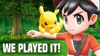 Download Pokemon Let's Go Pikachu: IS IT FUN?! WE PLAYED IT! (E3 2018 Nintendo Switch) Video