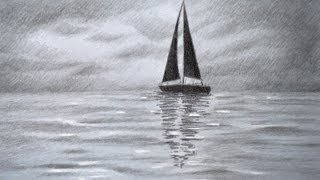Download How to Draw a Sailing Boat - How to Draw a Sea - How to Draw Clouds Video