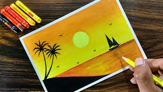 Download Sunset Scenery with Oil Pastel for beginners - Step by Step Video