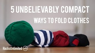 Download 5 AMAZINGLY Compact Ways to Fold Clothes for Packing Video
