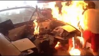 Download Chevy 350 miata drift car fire Video