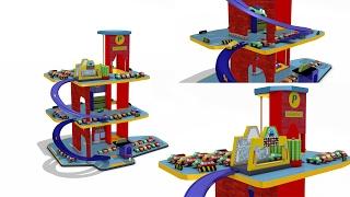 Download Parking garage play set for children - car wash - playland - cars for kids - toys for children Video
