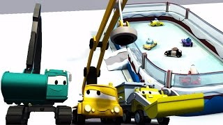 Download Construction Squad: Dump Truck, Crane and Excavator build an Ice Skating rink in Car City Video