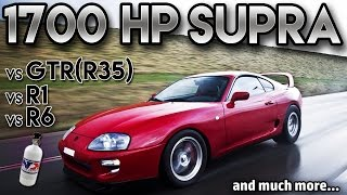 Download Toyota Supra 1700hp BIG Single Turbo vs GTR r35 vs r1 vs r6(antilag, 2 step,Straight from hell) Video