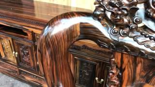 Download Bộ bàn ghế phòng ăn Gỗ Mun Hoa 10 ghế 1 bàn tròn và bộ minh nghê c12.bác THUẬN kiến An Hải Phòng:9- Video