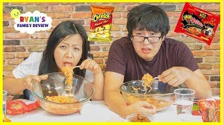 Download Extreme Spicy Noodle Challenge 2x! Loser drinks Hot Sauce with Ryan's Family Review! Video