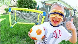 Download FATHER SON BLINDFOLDED SOCCER! Video