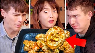 Download Trying EXTREME Korean 7-Eleven Foods!? Spicy Intestines + Chicken Feet!! Video