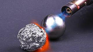 Download POLISHED ALUMINIUM FOIL BALL VS GAS BURNER Video