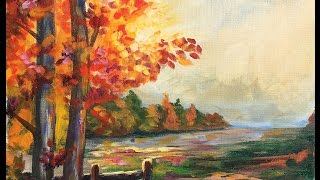 Download Beginner Learn to paint a Landscape Full acrylic for Fall /Autumn lovers Video