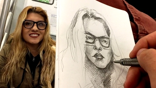 Download DRAWING LIVE PORTRAITS - NYC SUBWAY Video