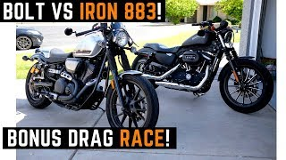 Download Harley Iron 883 or Yamaha Bolt? Put My Friend on Both - Ride Drag Race Which Would You Pick? Video