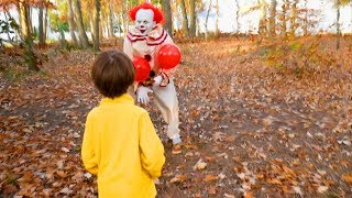 Download Scary Clown Pennywise From It Sets a Halloween Candy Trap For Us in the Woods! Video