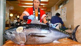 Download Japanese Street Food - BLUEFIN TUNA CUTTING SHOW & SUSHI / SASHIMI MEAL Video