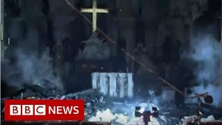 Download First look inside Notre-Dame after fire - BBC News Video