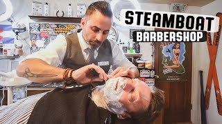 Download 💈 Traditional Barber Shop Relaxing Straight Razor Hot Shave and Massage | Steamboat Barbershop Video