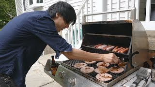 Download Jun decorates for 4th of July + tries an American grill! Video