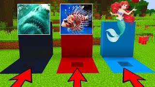 Download DO NOT CHOOSE THE WRONG HOLE in Minecraft PE (Megalodon, Mermaid & Lionfish) Video