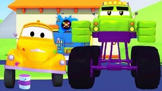 Download Tom The Tow Truck's Paint Shop in Car City - The Monster Truck is Hulk | Truck cartoons for kids Video