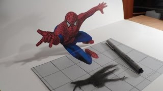 Download Drawing 3D Spiderman - How to Draw 3D Spiderman - 3D Trick Art - Vamos Video