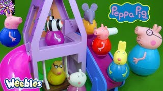 Download LOTS of Peppa Pig Weebles Toys Daddy Pig George Red Car Train Wind and Wobble Playhouse Playset Toys Video