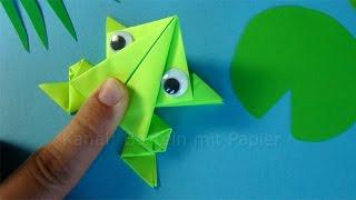 Download Hüpfenden Origami Frosch falten 🐸 Springenden Frosch basteln mit Papier - Tiere basteln mit Kindern Video
