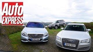 Download New Mercedes S-Class vs Audi A8 vs Range Rover - Auto Express Video