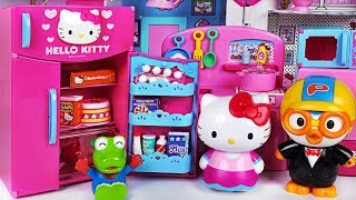 Download Happy birthday Pororo! Hello Kitty Refrigerator and kitchen toys play - PinkyPopTOY Video