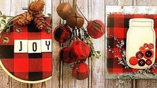 Download Three DIY Farmhouse Inspired Buffalo Check Ornaments - Christmas 2019 Video