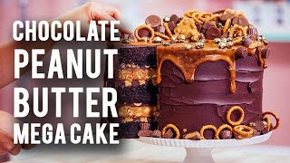 Download How To Make A CHOCOLATE PEANUT BUTTER MEGA CAKE! Rich Chocolate, Sweet Caramel & Peanut Butter! Video