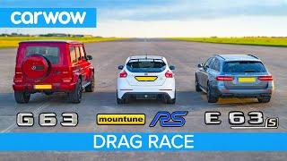 Download Mercedes-AMG E63 S vs G63 vs 520hp Ford Focus RS – DRAG RACE, ROLLING RACE & BRAKE TEST! Video