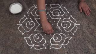 Download simple and easy rangoli design/ beautiful rose rangoli design Video
