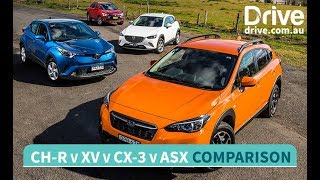 Download 2017 Mazda CX-3 v Toyota C-HR v Subaru XV v Mitsubishi ASX Comparison   Drive.au Video