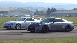 Download 990HP Toyota Supra vs. 980HP Nissan R35 GTR Rolling Start Drag Race Video
