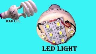 Download canvert old broken CFL into super led light at home Video