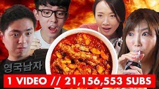 Download Top Youtubers try the ORIGINAL Korean FIRE CHICKEN! (ORIGIN of the Korean Fire Noodle Challenge) Video
