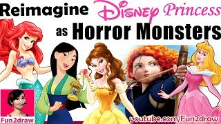 Download REIMAGINE DISNEY PRINCESS AS HORROR MONSTER | New Art Challenge | Draw, Color / Colour by Mei Yu Video