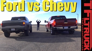 Download 2017 Ford Raptor vs Chevy Silverado 1500 (6.2L) Mashup Drag Race Video