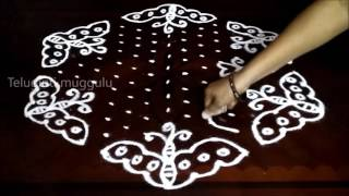 Download Simple butterfly kolam designs with15-8 middle | chukkala muggulu with dots| rangoli design Video