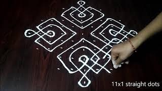 Download Latest Simple sikku kolam with 11x1 dots   easy,simple rangoli   Muggulu designs   rangoli Video