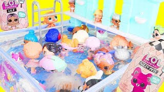 Download LOL Surprise Dolls Mix Pool Party with Lil Sister Fuzzy Pets | Toy Egg Videos Video