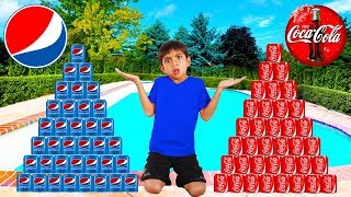 Download Coke vs Pepsi Pretend Play! Funny Boy Goes Shopping & Play Stacking Game Video