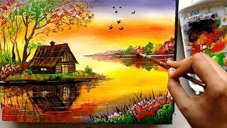 Download Beautiful Riverside Scenery Painting | Acrylic Painting Tutorial Video